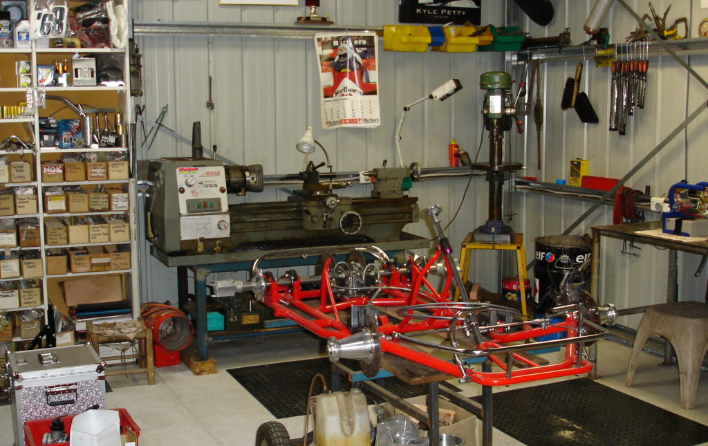 A customer's superkart chassis going through a strip and rebuild.
